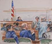 Marshall Goodman Courtroom 145 Watercolor On Paper Signed
