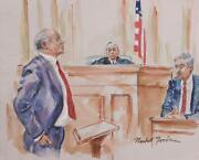 Marshall Goodman Courtroom 89 Watercolor On Paper Signed