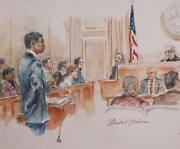 Marshall Goodman Courtroom 108 Watercolor On Paper Signed