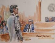 Marshall Goodman Courtroom 114 Watercolor On Paper Signed