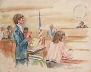 Marshall Goodman Courtroom 168 Watercolor On Paper Signed
