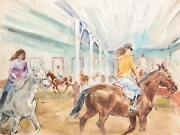 Marshall Goodman Indoor Riding Class Watercolor On Paper