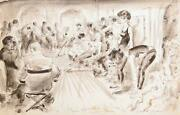 Marshall Goodman Opening Rehearsal For No Strings Central Plaza Watercolor On
