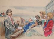 Marshall Goodman Courtroom040 Watercolor On Paper Signed