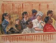 Marshall Goodman Courtroom 46 Pensive Jury Watercolor On Paper Signed
