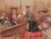 Marshall Goodman, Courtroom 50, Juror Reading The Verdict, Watercolor On Paper,