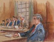 Marshall Goodman Courtroom 193 Watercolor On Paper