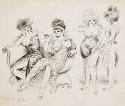 Marshall Goodman Four Women In Gowns Ink On Paper Signed