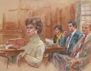 Marshall Goodman Courtroom 350 Watercolor On Paper Signed