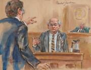 Marshall Goodman Courtroom 352 Watercolor On Paper Signed
