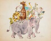 Marshall Goodman Animals Riding An Elephant Watercolor On Paper Signed