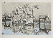 Fran Bull Zebras 2 Lithograph Signed And Numbered In Pencil