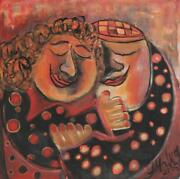 Malka Tsentsiper Shabbat Evening 2 Acrylic On Canvas Signed And Dated L.r.