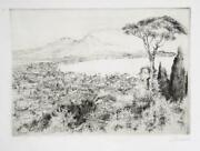 Paul Geissler, Mount Vesuvius, Etching, Signed And Numbered In Pencil