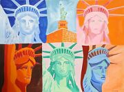 Biagio Civale Statue Of Liberty Acrylic On Paper Signed L.r.