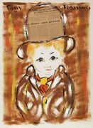 Francois Paris Blonde Boy With Hat Acrylic And Collage On Paper Signed