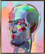 Peter Max Neo Head Acrylic On Canvas Signed L.r.