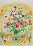 Ira Moskowitz Flowers 5 Lithograph Signed And Numbered In Pencil