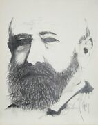 Greenlund President Benjamin Harrison Graphite On Paper Signed And Dated