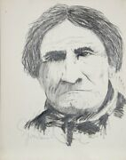 Greenlund Chief Geronimo Graphite On Paper Signed And Dated