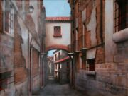 Rugero Valdini Jewish Quarter Toledo Spain Oil On Canvas Signed L.r.
