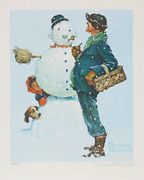 Norman Rockwell Snowman Lithograph Facsimile Signed