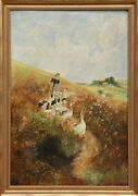 H. Gleim, Woman With Geese, Oil On Canvas, Signed L.r.