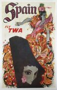 David Klein, Spain - Fly Twa, Lithograph Poster, Mounted To Linen