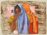Anton Refregier Two Women With Shawls Gouache On Bark Signed L.r.