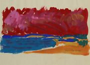 August Mosca Seascape Watercolor And Gouache On Paper Signed And Dated L.r.