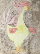 Carl Bergman Rooster Watercolor On Arches