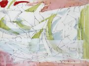 Dimitri Petrov Untitled - Cubist Abstract Watercolor And Pencil On Paper Sign