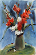 Eve Nethercott Red Flowers In Green Vase P1.6 Watercolor On Paper