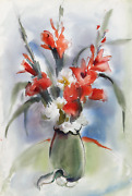 Eve Nethercott Red Flowers In Vase P1.9 Watercolor On Paper