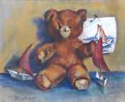 George R. Imhof, Teddy Bear, Pastel On Paper, Signed And Dated L.l.