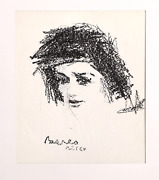 Dimitrie Berea Portrait Of Woman 5 Charcoal On Paper Signed
