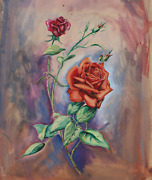 Evelyn Schaefer Two Roses Tempera On Paper Signed