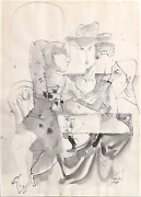 David Gerstein After Dinner Ink And Wash On Paper Signed
