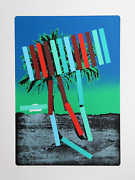 Menashe Kadishman, Teal And Red Palm, Screenprint, Signed In Pencil