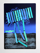 Menashe Kadishman, Blue Palm, Screenprint, Signed And Numbered In Pencil