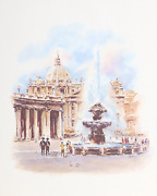 Asterio Pascolini St. Peterand039s Basilica Rome Offset Lithograph Signed In The P