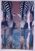 Fran Bull Zebras Screenprint Signed And Numbered In Pencil