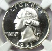 1951 Proof Washington Quarter 25c Coin - Ngc Pr68 Cameo Pf68 - 3500 Value