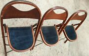 Antique Set 3 Cushioned Folding Wood Chairs General Sales Co. Highpoint N.c. Usa