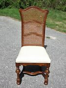 Vintage Ethan Allen Jacobean Style Triple Cane High Back Dining Chair