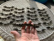 """Lot 24 Hammered Brass Cabinet Drawer Pulls Knobs 3"""" C Spanish Revival Style 5.25"""