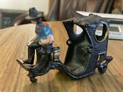 Vintage Very Old Cast Iron Toy Horse Carriage