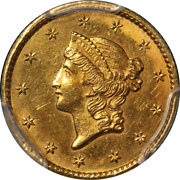 1849-c Type 1 Liberty Gold 1 Closed Wreath Pcgs Nice Unc Details Key Date