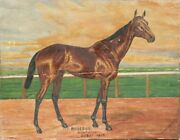 Unknown Artist Old Rosebud Kentucky Derby 1914 Oil On Board Signed And039a. Grund