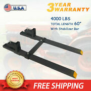 4000lbs 60 Tractor Clamp On Pallet Forks Bucket Quick Attach W/ Stabilizer Bar